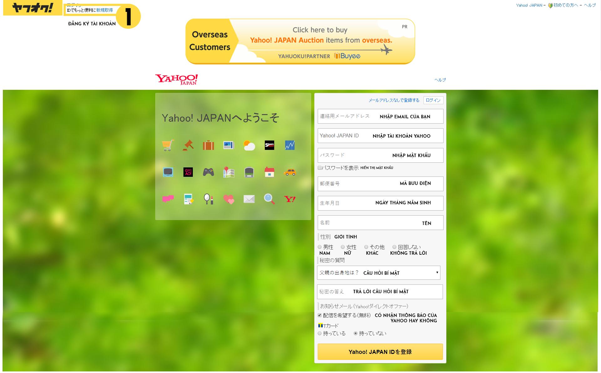 Cách đăng ký tài khoản đấu giá trên Yahoo japan
